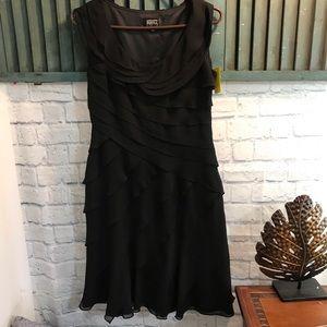 Adrianna Papell shutter pleat black cocktail dress